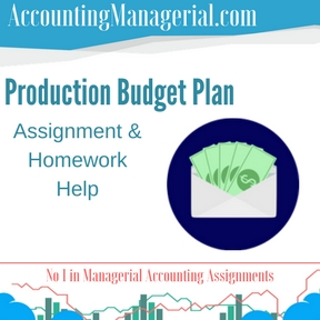 Production Budget Plan Assignment & Homework Help